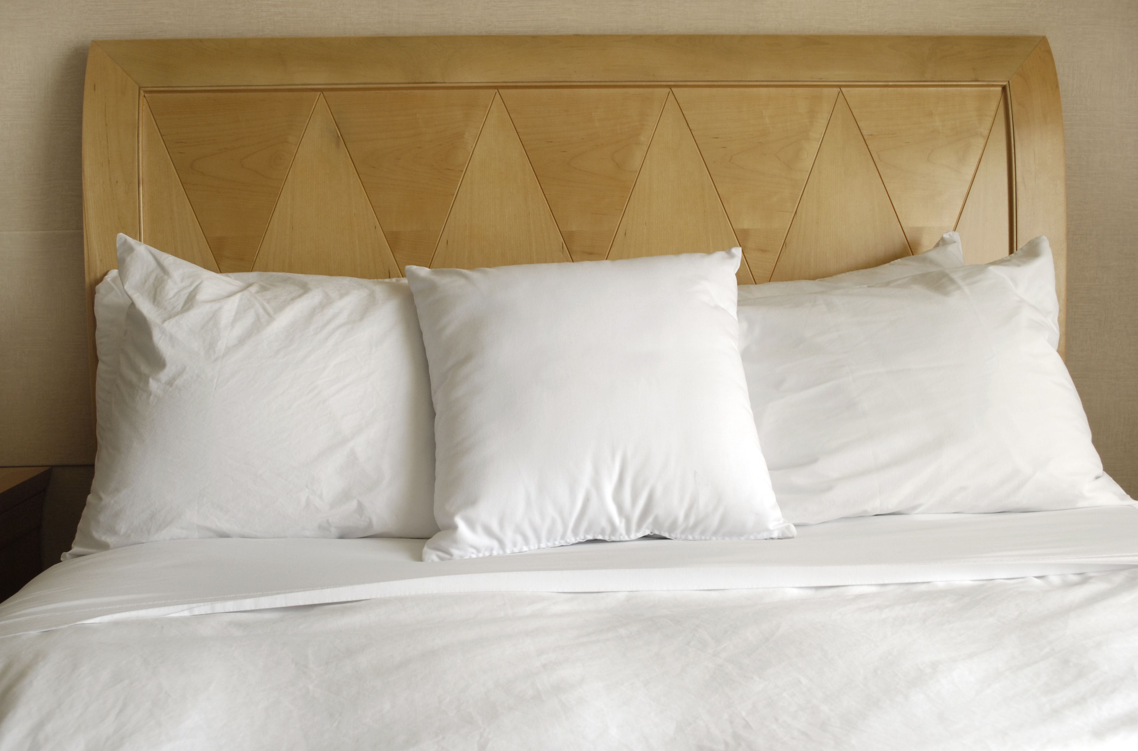 White percale and bed