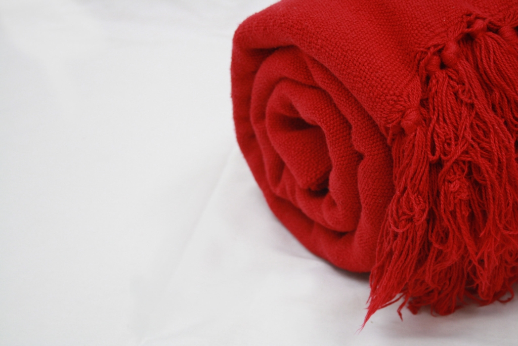 Cotton throw in red