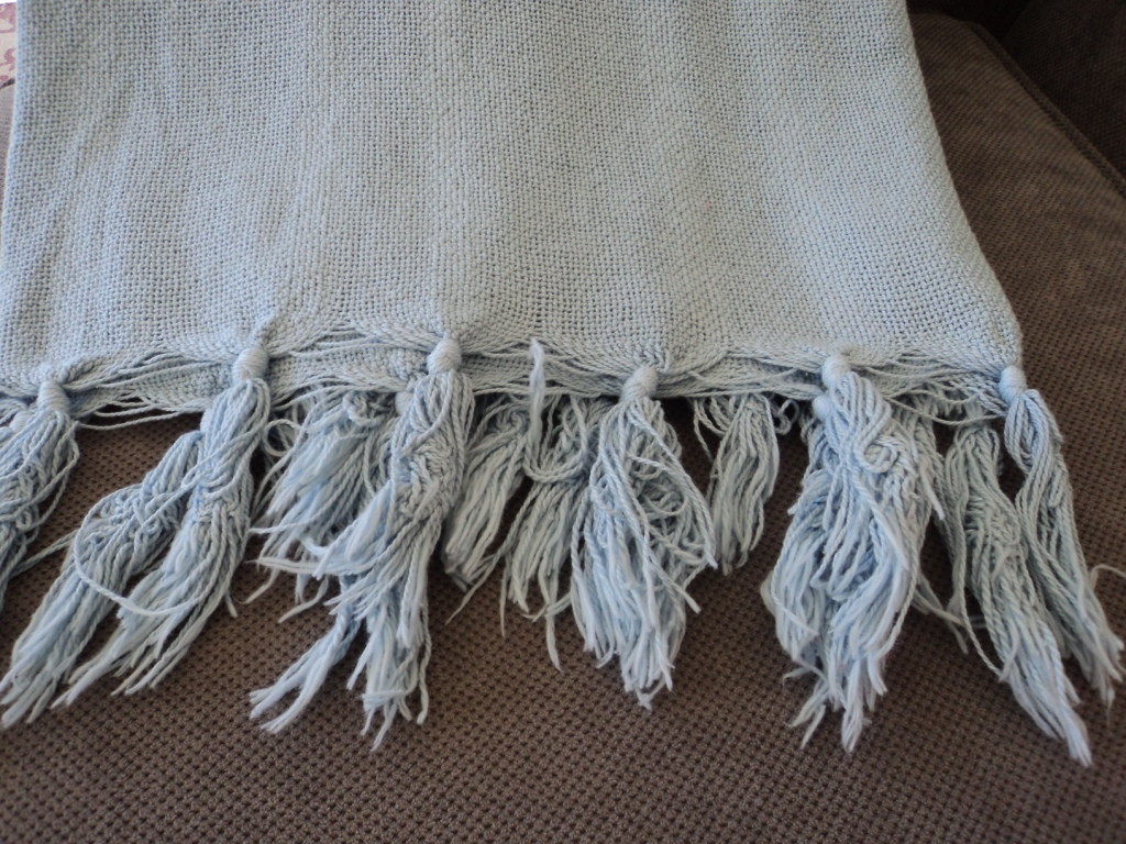 cotton throw hand knotted fringe