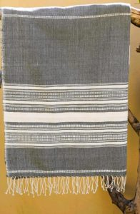 organic towel in grey and white